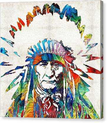 Face Canvas Print - Native American Art - Chief - By Sharon Cummings by Sharon Cummings