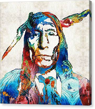 Native American Art By Sharon Cummings Canvas Print by Sharon Cummings