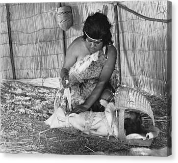 Native American Baby Cradle Canvas Print by Underwood Archives Onia
