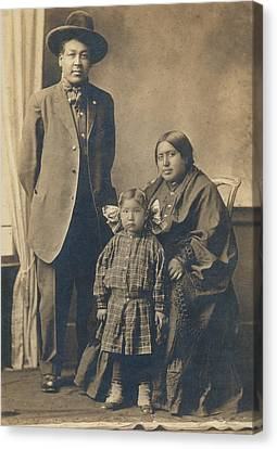 Canvas Print featuring the photograph Native American Family by Paul Ashby Antique Image