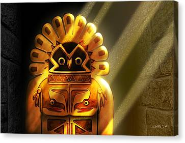 Native American Hawk Spirit Gold Idol Canvas Print by John Wills