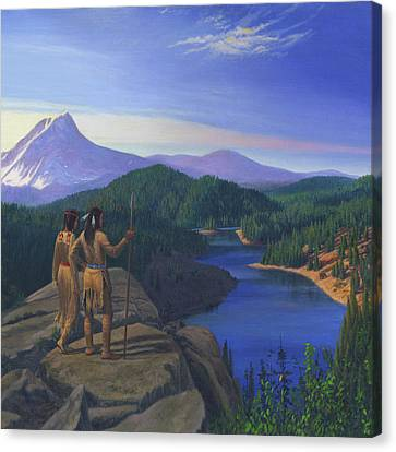 Native American Indian Maiden And Warrior Watching Bear Western Mountain Landscape - Square Format Canvas Print by Walt Curlee
