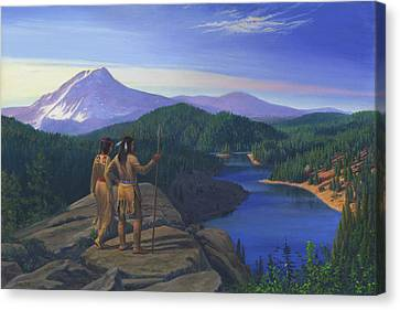 Native American Indian Maiden And Warrior Watching Bear Western Mountain Landscape Canvas Print by Walt Curlee