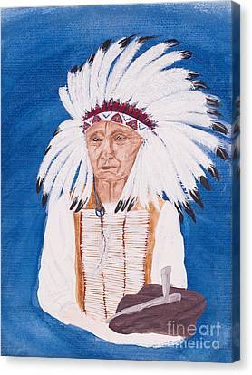Native American Indian Painting By Carolyn Bennett Canvas Print by Simon Bratt Photography LRPS