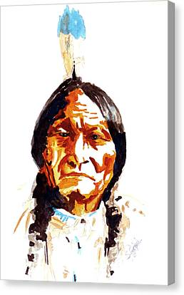 Canvas Print featuring the painting Native American Indian by Steven Ponsford