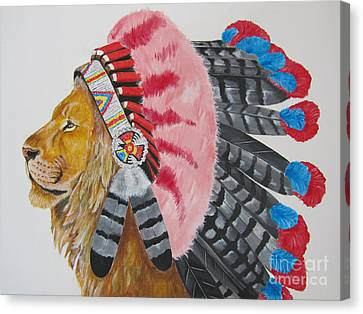 Native American Lion Canvas Print by Jeepee Aero