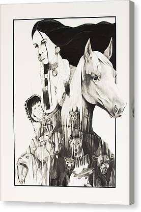 Native American Mother's Life Journey Canvas Print by Joe Lisowski