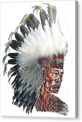 Native American Portrait In Headdress Canvas Print