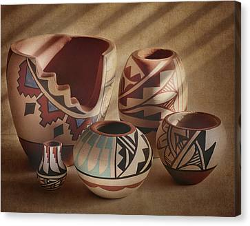 Clay Pottery Canvas Print - Native American Pottery by David and Carol Kelly