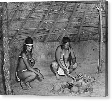 Native American Sweat Lodge Canvas Print by Underwood Archives Onia