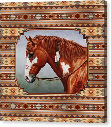 Native American War Horse Southwestern Pillow Canvas Print by Crista Forest