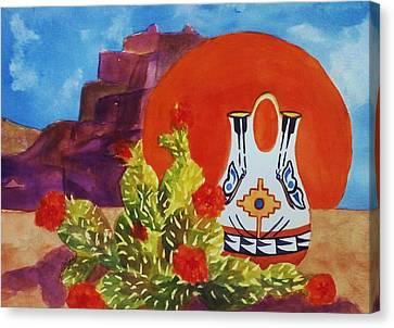Native American Wedding Vase And Cactus Canvas Print