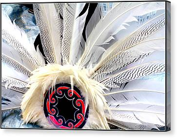 Native American White Feathers Headdress Canvas Print by Dora Sofia Caputo Photographic Art and Design