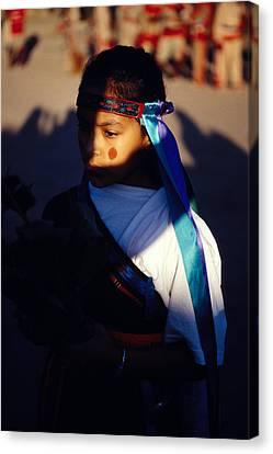 Native Girl In Costume Canvas Print by Mark Goebel