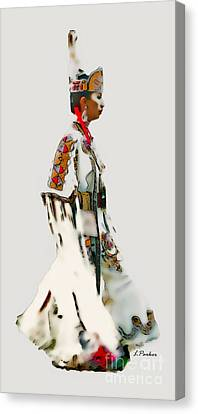 Native Indian Woman Dancer Canvas Print by Linda  Parker