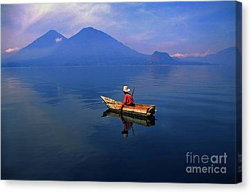 Native Mayan Fisherman On Lake Atitlan Canvas Print by Thomas R Fletcher