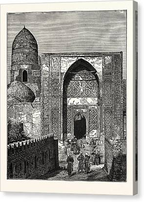 Native Police At The Gate Of The Mosque Of Shah Zindeh Canvas Print by English School