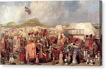 Native Princes Arriving In Camp For The Imperial Assemblage At Delhi, 1877 Canvas Print by George Landseer