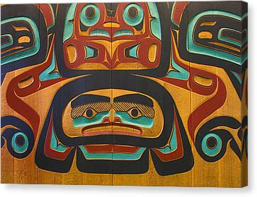 Native Tlingit Carving At The Juneau Canvas Print by Ron Sanford