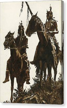 Two Indians Horseback Canvas Print by Don  Langeneckert