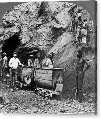 Native Workers In Diamond Mine Canvas Print by Underwood Archives