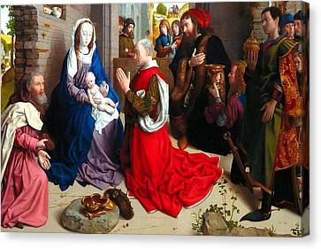 Nativity And Adoration Of The Magi Canvas Print by Munir Alawi