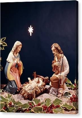 Nativity Canvas Print - Nativity Figurines Baby Jesus by Vintage Images