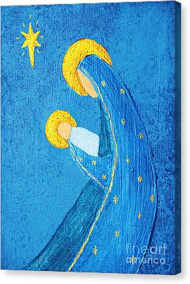 Nativity In Blue Canvas Print by Pattie Calfy