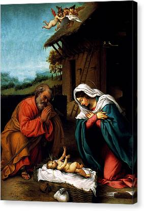 Canvas Print featuring the digital art Nativity by Lorenzo Lotto
