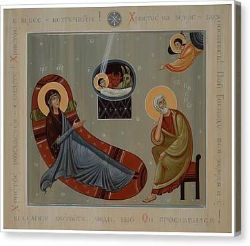 Handpainted Icon Canvas Print - Nativity Of Christ  by Phil Davydov and Olga  Shalamova