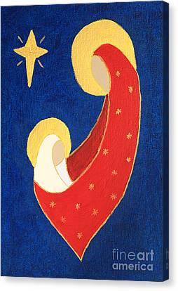 Nativity On Blue Canvas Print by Pattie Calfy