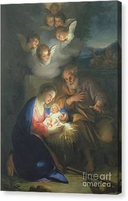 Nativity Scene Canvas Print by Anton Raphael Mengs