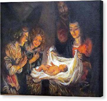 Canvas Print featuring the painting Nativity Scene Study by Donna Tucker