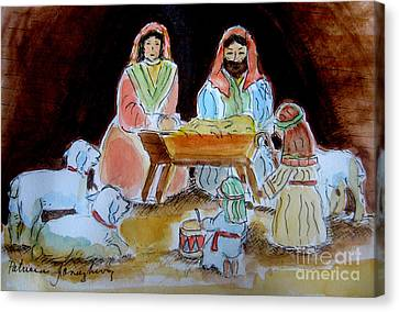 Nativity With Little Drummer Boy Canvas Print