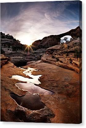 Natural Bridges Sunset Canvas Print by Leland D Howard