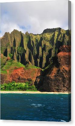 Natural Cathedrals Of Napali Coast Canvas Print by Photography  By Sai
