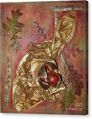 Canvas Print featuring the mixed media Natural Rythmes - Red Tones  by Delona Seserman