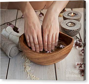 Natural Spa Manicure  Setting Canvas Print by Mythja  Photography