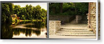 Nature Center 01 Flagstone Patio Fullersburg Woods 2 Panel Canvas Print by Thomas Woolworth