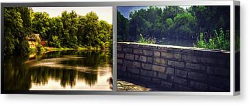 Nature Center 01 Flagstone Wall Fullersburg Woods 2 Panel Canvas Print by Thomas Woolworth