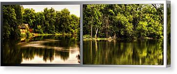 Nature Center 01 Salt Creek In August Fullersburg Woods 2 Panel Canvas Print by Thomas Woolworth