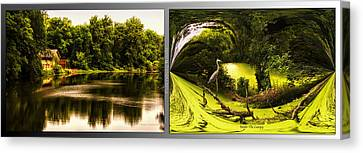 Nature Center 01 Under The Canopy Fullersburg Woods 2 Panel Canvas Print by Thomas Woolworth