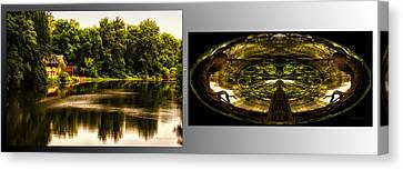 Nature Center 01 Wood Polar View Fullersburg Woods 2 Panel Canvas Print by Thomas Woolworth
