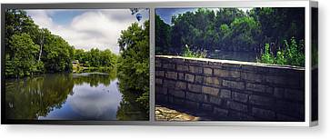 Nature Center 02 Flagstone Wall Fullersburg Woods 2 Panel Canvas Print by Thomas Woolworth