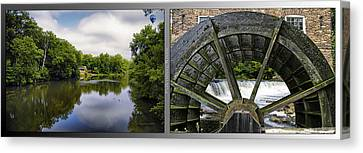 Nature Center 02 Grist Mill Wheel Fullersburg Woods 2 Panel Canvas Print by Thomas Woolworth