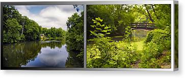 Nature Center 02 With Bridge Fullersburg Woods 2 Panel Canvas Print by Thomas Woolworth