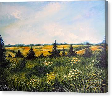 Nature Landscape Sky Mountains Pines Grass And Flowers Canvas Print by Drinka Mercep