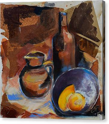 Canvas Print featuring the painting Still Life Sepia by Elise Palmigiani
