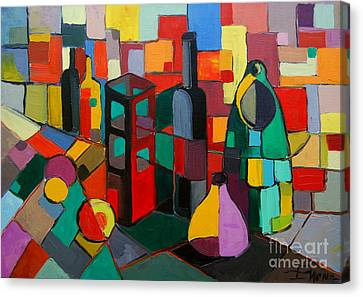 Abstract Forms Canvas Print - Nature Morte Cubiste by Mona Edulesco