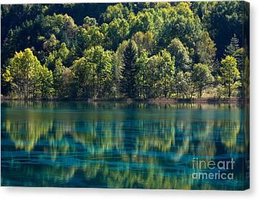 Reflecting Water Canvas Print - Nature Scenery In Jiu Zhai Gou by Julia Hiebaum